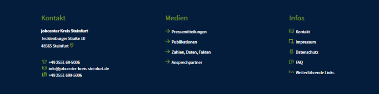 Footer der Jobdenter-Homepage